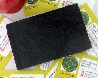 Treble Clef ID wallet business card holder reuse vegan cotton music clef indented print on black fabric