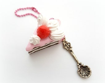 Strawberry cake planner charm, kawaii miniature food phone charm