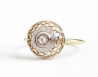 Antique Edwardian 18k Yellow Gold & Platinum Diamond Stick Pin Conversion Ring - Vintage 1910s Size 5 1/2 Filigree Target Halo Fine Jewelry