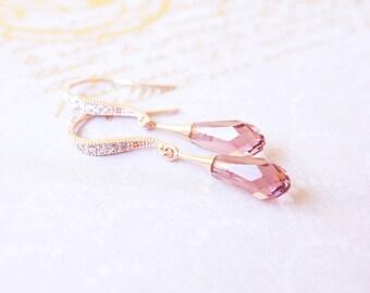 Earrings, Rose Gold Earrings, Crystal Earrings, Dangle Earrings, Drop Earrings, Swarovski Earrings, Handmade Earrings, Blush Earrings, Gift