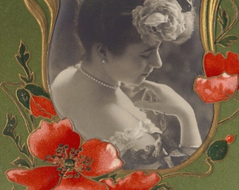 Woman with Poppies, Embossed Art Nouveau Postcard, circa 1905