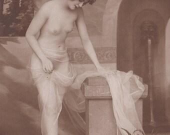 Exquisite Solitary Bather, Image 7, Vintage German Postcard by NPG, circa 1910