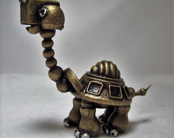 Robot Tortoise Sculpture Handmade Wood Animal Figure Cute Turtle Character Galapagos Tortoise