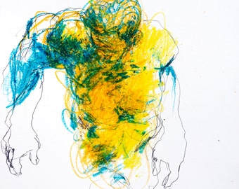 """Expressive Figurative Art - Drawing 470 - 9 x 12"""" wax crayon and graphite on paper - original drawing by Derek Overfield"""