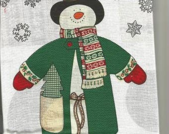Christmas Snowman Fabric Panel Jack Snow Pre-Printed Fabric Cut Sew Stuff Christmas Decor DIY Christmas Soft Sculpture Toy Christmas Crafts