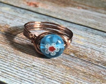 turquoise blue / red glass Millefiori Ring - antique copper wire wrapped , size 6 3/4 , 6.75 - women men , handmade jewelry , flower hippie