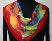 Square Silk Scarf Red, Yellow, Green Handpainted Shawl PASSION WINDS, in 3 SIZES. Birthday, Christmas Gift, Bridesmaid Gift. Handmade Gift