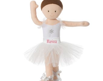 "PERSONALIZED Soft Bend & Pose White Snowflake Brunette Ballerina Doll 14"" Tall"