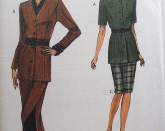 Very Easy Very Vogue 8718 Sewing Pattern - Misses/Misses Petite Fitted Top and Straight Skirt - Sizes 14-16-18, Bust 36-38-40, Uncut