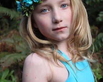 turquoise flower headband, vintage turquoise headband, purple headband, halo headband,flower girl headband,ready to ship,bridal headband