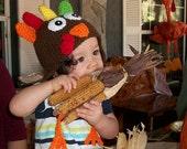 Turkey Hat crocheted in Dark Brown /Cbbcreations/Baby Turkey Hat