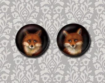 Fox Brooch Round- Fox Pin - Button - Fox Lover's Gift - Foxy - Wedding - Engagement - Anniversary - Sweetheart - Valentine - Animal Lover