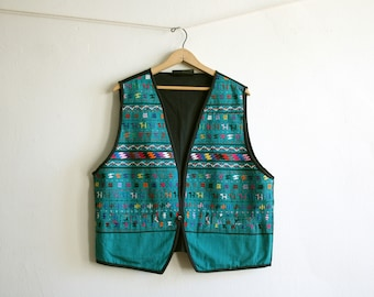 SALE Green Turquoise Guatemalan Vest