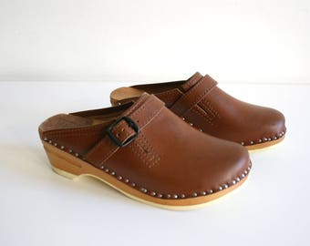 Cognac Swedish Clogs 36