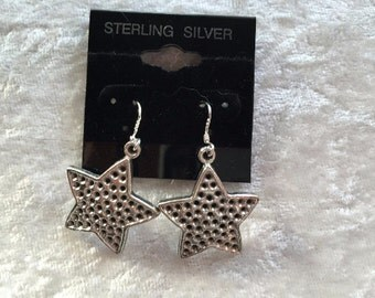 Star Earrings, Silver Earrings, Charm Earrings, Dangle Earrings, Gift for Her, Stars Earrings, Sterling Silver, Star Jewelry, Silver Jewelry