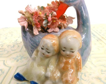 Vintage Small Swan & Children Vase, Lusterware Ceramic, Nursery, Child's Room, Home Decor