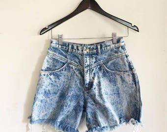 Vintage 80s Jordache Shorts / High Waisted / Cut Off Jeans / Acid Wash / Distressed Denim