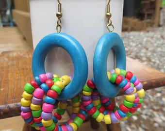 Wooden Earrings Vintage Bold and Bright Wooden Earrings Blue Rings with Rings of Beads BoHo Earrings Vintage Boho