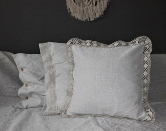 Linen sham pillow cover,  Linen bedding, Decorative throw pillow, Decorative linen pillows,  Flax, Natural light Grey or White, Easter gift