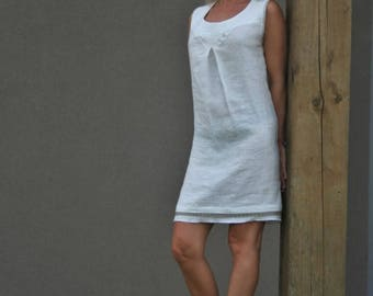 White pure linen dress - handmade - size S-M -sleeveless - Easter day gift