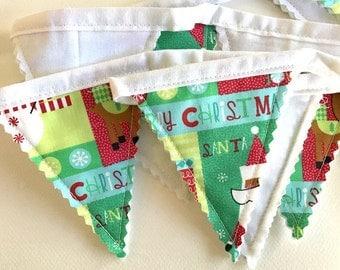 Christmas Garland, Snowman Garland, Santa Garland, Christmas Bunting, Christmas Banner, Holiday Decor, Fabric Christmas Bunting