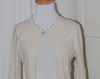 On Sale, 50s Style Pringle Cashmere Cardigan, Cream, Open Front, Beaded Closure, Wedding, Size S-L