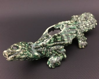 Sale // Baby Dragon Ceramic Pipe // Double Layer Marbled Green Glass Glazed