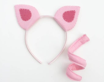 Wool Felt Pig Ears Headband & Bendy Tail