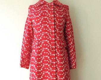 Vintage 1960's/Red Brocade Coat/60's Mod Red Floral Brocade Coat/Bullock's Womens Red Floral Coat/Mid Century Mod Red Floral Coat/ S-M
