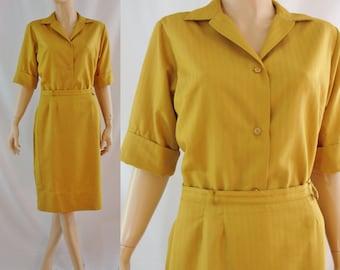 SALE Vintage Sixties Suit - 1960's Golden Yellow Skirt Suit - 60's Goldenrod Blouse and Skirt Set - Vintage Summer Suit - Small