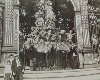 Vintage French 1930's Photo - Neptune Fountain, Nancy, France