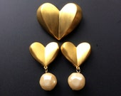 Givenchy Gold Heart Brooch and Earrings Set