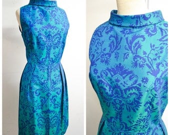 RESERVED 1960s Teal blue green two tone silk printed cocktail dress / 60s tonic roll neck party dress - S