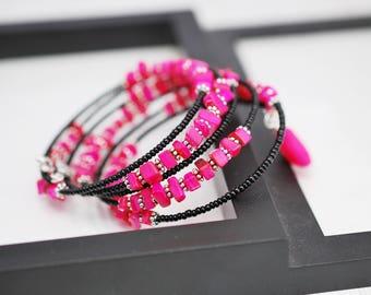Black and Pink Bracelet, Memory Wire Bracelet, Beaded Wrap Bracelet, Wrap Bracelet, Hot Pink Bracelet, Seed Bead Bracelet, Black Bracelet