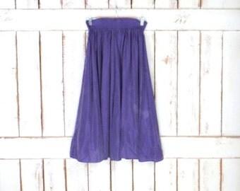 Vintage Liz Wear purple silk stretch waist midi skirt/Liz Claiborne silk skirt/flowy silk skirt