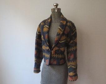 Vintage '90s Keren Hart Cotton Woven, Cropped Southwestern Blazer Jacket w/ Big Chunky Wooden Button! Large