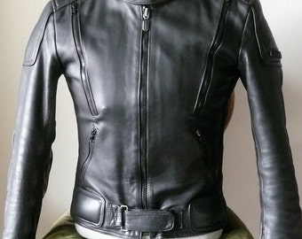 Vintage Fieldsheer Black Leather Cafe Racer Jacket