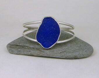 Cobalt Blue Sea Glass Bezel Cuff Bracelet