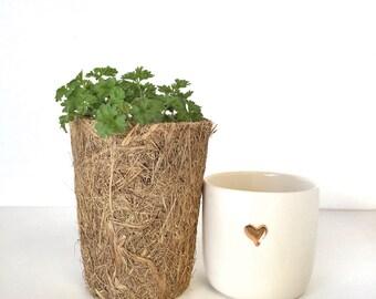 Ceramic heart gold mug coffee cup tea tumbler handmade
