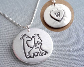 Personalized Giraffe Family Necklace, Mom, Dad, Baby, New Family, Heart Monogram, Fine Silver, Sterling Silver Chain, Made To Order