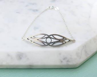 Elf Deco Cutout Design Sterling Silver Bar Style Bracelt, Abstract design, tear drop shape, marquise, Elvish inspired, Art Deco Inspired