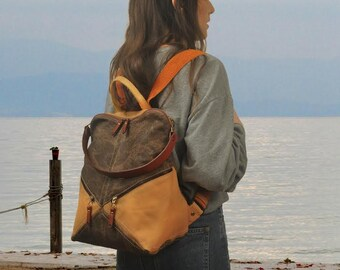 Backpack,shoulder bag , patterned canvas -leather ,Handmade ,named IRIA