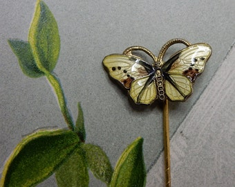 NORWAY Sterling Silver & Yellow Enamel Butterfly Stickpin Scarf Pin Hat Pin Brooch   NEC6