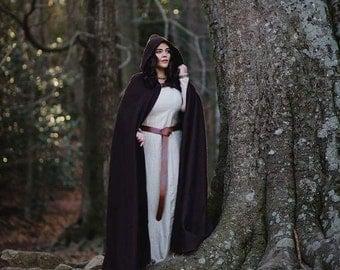 Wool Cape Hooded brown warm cloak rustic medieval larp forest ranger druid costume cosplay