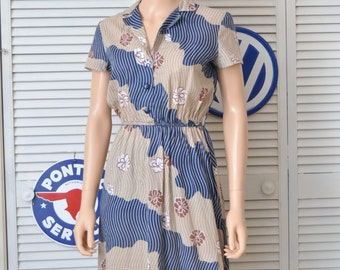 Vintage 70s Women's-Juniors-Teens Dress/Tan Blue & Floral/Short Sleeve/Theater Costume Paw Print Pin Animal Charity Small 4-6 cotton