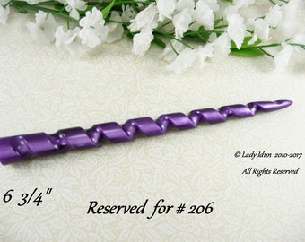 Reserved For # 206 Hair Stick Longer Length Spiral Unicorn Horn Purple Midnight Acrylic
