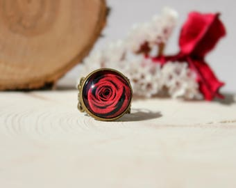 Red Rose Ring, Adjustable Ring, Antique Bronze Ring, Glass Dome Ring