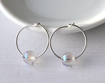 Sterling Silver Hoops with Gemstones, Rainbow Quartz Earrings, Gemstone Earrings, Everyday Earrings Gemstone Jewellery UK