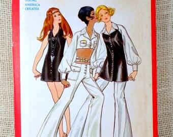 Vintage 1970s sewing pattern Butterick 5724 Bust 32.5 halter midriff Groovy vest Hip hugger bell bottoms Vest tunic balloon sleeve