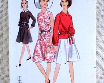 Vintage Pattern Butterick 3939 1960s Bust 32 Full Skirt shift drop waist blouson dress Audrey Hepburn Peter Pan collar